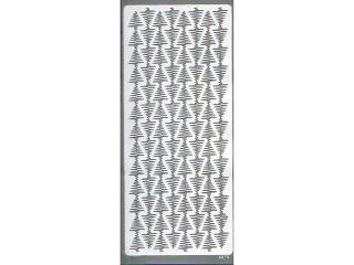 Naklejka ozdobna pasek choinek 2275 srebrna