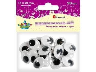 Oczy samoprzylepne TITANUM owalne - 15x20mm 20szt.