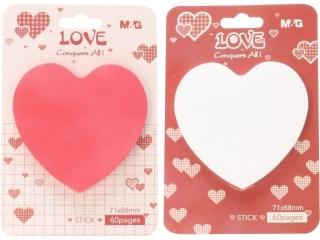 Karteczki samoprzylepne M&G Love, 7,6 x 7,6 cm, 60ark
