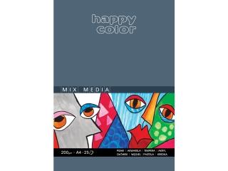 Blok MIX MEDIA, Art., A4, 25 ark, 200g, Happy Color [opakowa