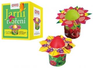 Zestaw do ozdabiania jajek - kwiatek, 4 farby+8 kwiatków +4