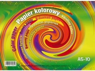 Zeszyt papierów kolorowych A5 10k. KRESKA z po³yskiem