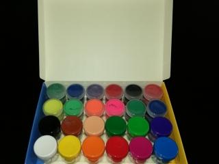 Farby plakatowe 24 kol. 20 ml , 4 neon , 4 brokat