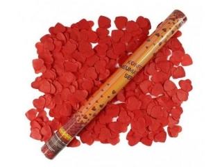 Konfetti pneumatyczne - Serca czerwone, papierowe / 60 cm
