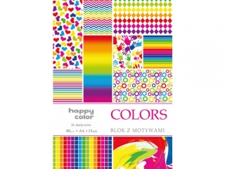 Blok Deco HAPPY COLOR Colors 80g/m2, A4 15ark., 27 motywów
