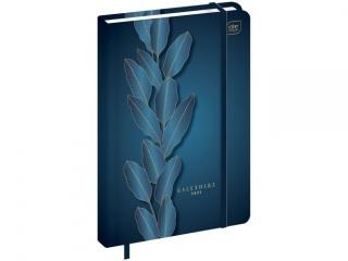 Kalendarz ksi±¿kowy INTERDRUK A5 384k. Matallic Blue Leaf