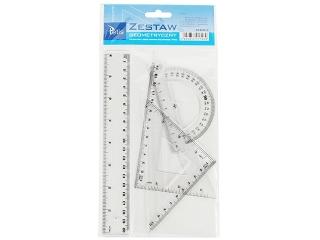 Zestaw geometryczny TETIS BL001 linijka 20 cm HURT