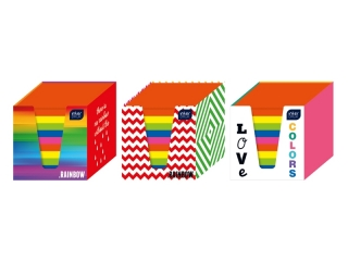Kostka papierowa kolory intensywne 90x90x90mm w kubiku karto