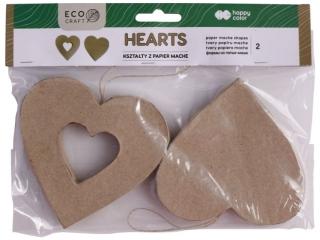 Kszta³ty z papier mache HAPPY COLOR Hearts, 2 szt, 10x2.5cm