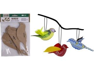 Zestaw kszta³tów tekturowych HAPPY COLORS Birds 5szt, 12x6cm