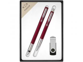 Komplet Parker Vector Pióro wieczne +D³ugopis +USB czerwony