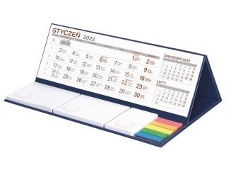 Kalendarz biurkowy WOKÓ£ NAS z notesem MAXI 2022 - granat