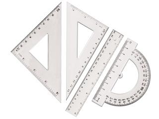 Zestaw geometryczny TETIS BL001 linijka 15 cm HURT