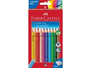 Kredki FABER CASTELL Jumbo Grip 12 kolorów + temperówka