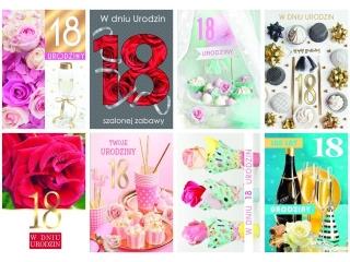 Kartki laurka LD du¿a  Urodziny 18-stka  zest. 474 Kwiaty