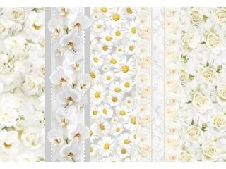 Papier ozdobny POL-MAK 25ark. zestaw 170 mix kwiaty bia³e