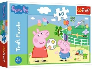 Puzzle   60 TREFL ¦winka Peppa - Zabawy w gronie przyjació³