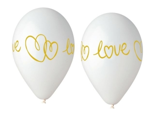 Balony Premium Hel Love, bia³e, 13 cali/ 5 szt.