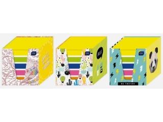Kostka papierowa kolory fluo/bia³a 90x90x90mm w kubiku karto