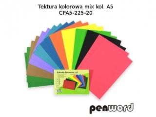 Tektura kolorowa PENWORD A5 mix kolorów CPA5-225-20