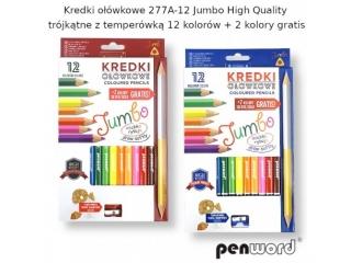 Kredki o³ówkowe PENWORD Jumbo high quality trójk±tne z temperówk± 12+2kolory gratis