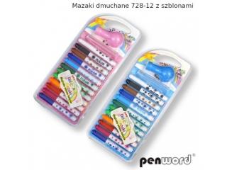 Mazaki dmuchane PENWORD 728-12 12 kolorów z szablonami