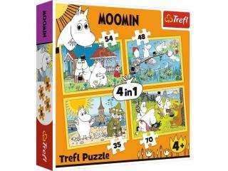"""Puzzle   """"4w1"""" Trefl Muminki - Weso³y dzieñ Muminków"""