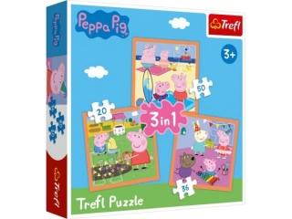 """Puzzle   """"3w1"""" TREFL Pomys³owa ¦winka Peppa"""