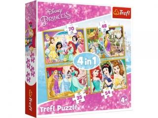 """Puzzle   """"4w1"""" TREFL Disney Ksiê¿niczki - Radosny dzieñ ksiê"""