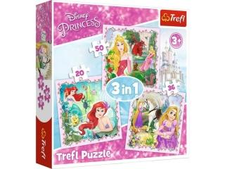 """Puzzle   """"3w1"""" TREFL Disney Ksiê¿niczki - Roszpunka, Aurora"""