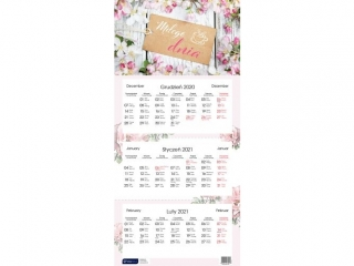 Kalendarz trójdzielny INTERDRUK Kwiaty 2021