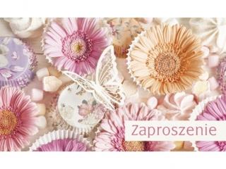 Kartki zaproszenia Pol-Mak  Z  46248  Kwiaty-Gerbery, Motyle  A10