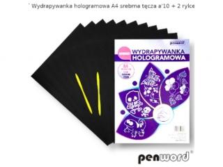Wydrapywanka PENWORD hologramowa A4 srebrna têcza 10ark. + 2 rylce