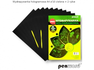 Wydrapywanka PENWORD hologramowa A4 zielona 10ark. + 2 rylce