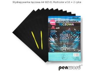 Wydrapywanka PENWORD hologramowa A4 WZ-01 multicolor 10ark. + 2 rylce