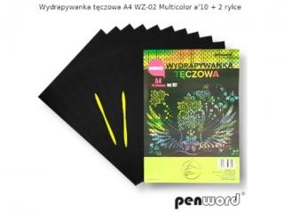 Wydrapywanka PENWORD hologramowa A4 WZ-02 multicolor 10ark. + 2 rylce
