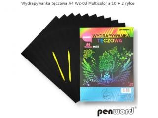 Wydrapywanka PENWORD hologramowa A4 WZ-03 multicolor 10ark. + 2 rylce