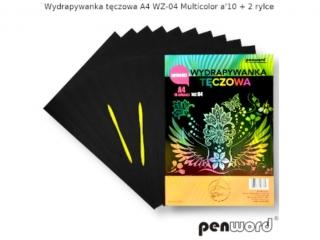 Wydrapywanka PENWORD hologramowa A4 WZ-04 multicolor 10ark. + 2 rylce
