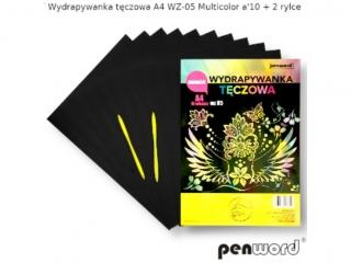 Wydrapywanka PENWORD hologramowa A4 WZ-05 multicolor 10ark. + 2 rylce