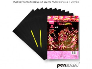 Wydrapywanka PENWORD hologramowa A4 WZ-06 multicolor 10ark. + 2 rylce