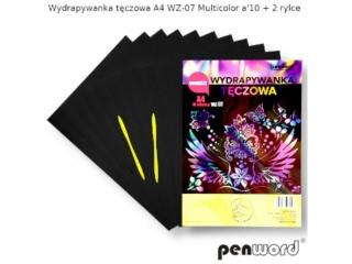 Wydrapywanka PENWORD hologramowa A4 WZ-07 multicolor 10ark. + 2 rylce