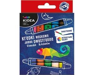 Kredki woskowe KIDEA dwustronne 8 kolorów