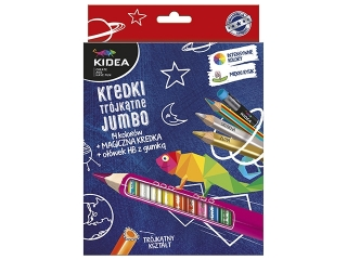 Kredki trójk±tne KIDEA grube 14 kolorów z o³ówkiem i magiczn