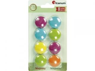 Magnesy TITANUM okr±g³e 28mm kolor mix