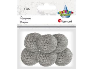 Pompony w³óczkowe TITANUM 3cm 6szt. jasnoszare