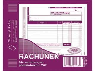 Druk-rachunek 2/3 A5 dla zwolnionych z VAT 230-4