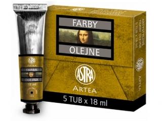 Farby olejne 18ml 5szt ugier jasny