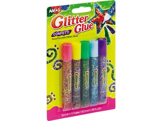 Klej z brokatem AMOS konfetti GCF10B5 - 10,5ml x 5 kolorów