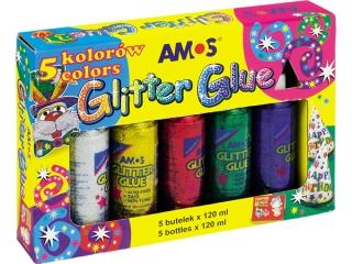 Klej z brokatem AMOS GCL120P5 - 120ml x 5 kolorów