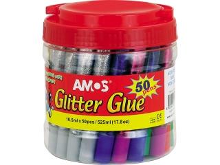 Klej z brokatem AMOS GCL 10BK50 - 10,5ml x 50 kolorów
